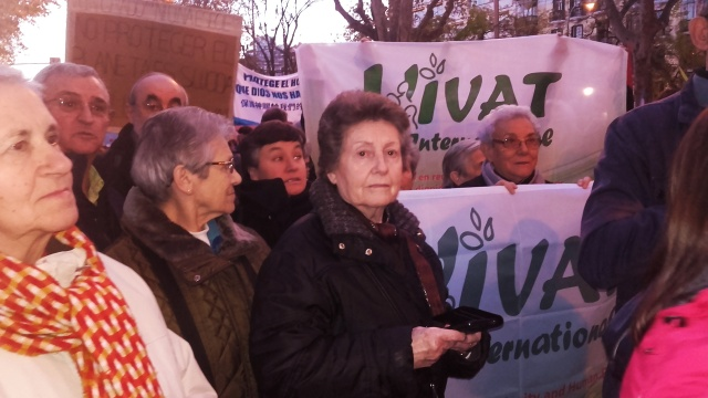 Maruja Peral (MSOLA) with some religious at the Climate Change COP25 March